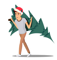 happy man carrying a christmas tree on his vector image