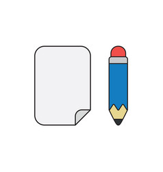 Icon concept paper with pencil black outlines vector