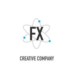 Initial letter fx atom neutron design logo vector