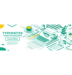 isometric vintage typewriter writer editor vector image