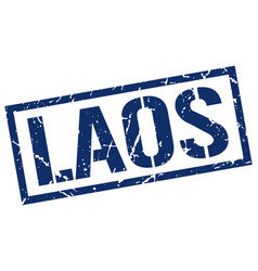 laos blue square stamp vector image