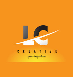 Lc l c letter modern logo design with yellow vector