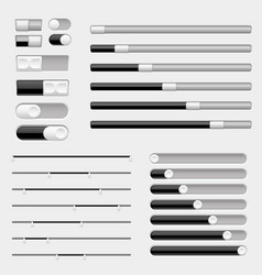 Light grey and black interface buttons sliders vector