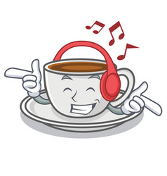 listening music coffee character cartoon style vector image