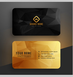 Low poly golden and black business card template vector