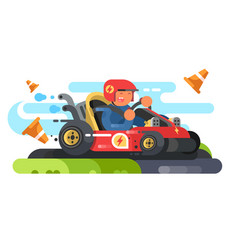 Man riding karting design flat vector