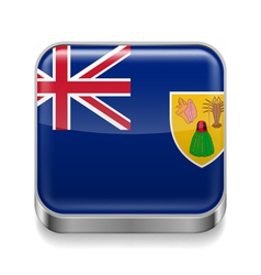 Metal icon of Turks and Caicos Islands vector image