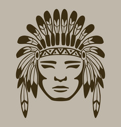 native american warrior hand drawn vector image