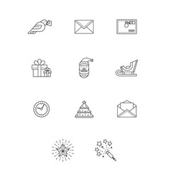 new year outline icons set vector image