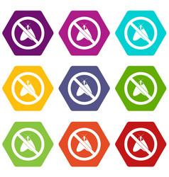 no moth sign icon set color hexahedron vector image vector image