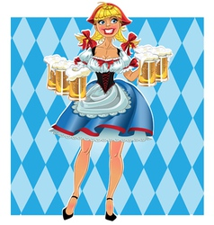 Octoberfest girl with beer vector image