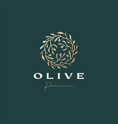 olive wreath sophisticated aesthetic logo icon vector image