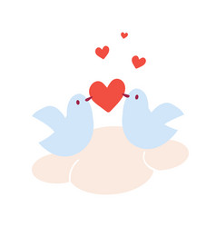 pair of doves in love sitting on a cloud vector image