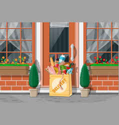 paper bag groceries left at door house vector image