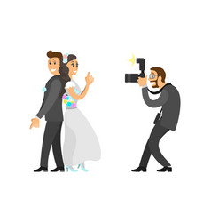 photographer taking photo of newlywed with camera vector image