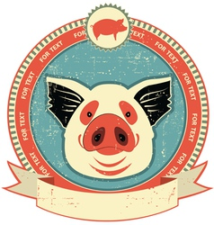 pig head label vector image