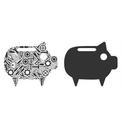 piggy bank mosaic of service tools vector image