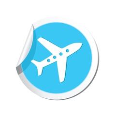 Plane icon round blue vector