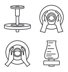 Potters wheel icon set outline style vector