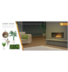 realistic home interior composition vector image