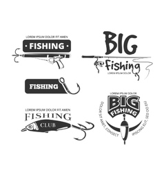Retro fishing club badges labels logos vector
