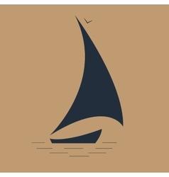sailboat at sea seascape icon vector image