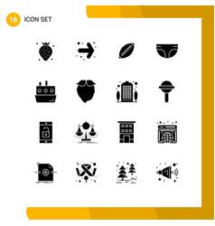 Set 16 solid glyphs on grid for diaper child vector
