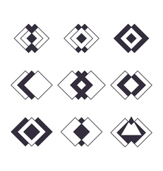 Set of 9 trendy geometric shapes Hipster logotypes vector
