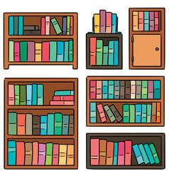 Set of bookshelf vector