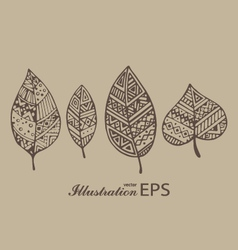 Set of four brown line graphic leaves pr vector