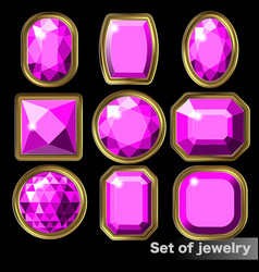 set of purple gems amethyst of various shapes vector image