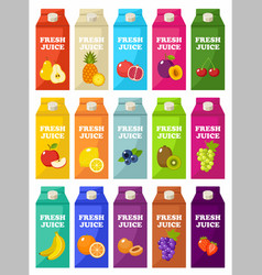 Set packages fruit juice vector