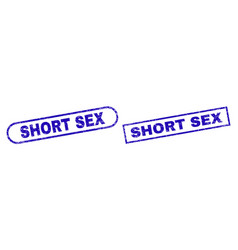 Short sex blue rectangle stamp with unclean style vector