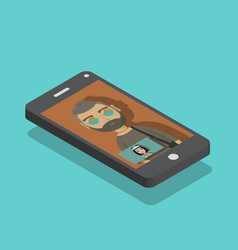 Smart phone with a video conference in screen vector
