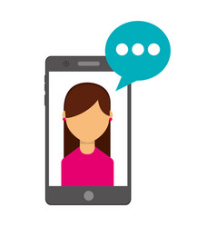 smartphone with woman and speech bubble vector image