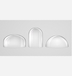 spherical glass domes on transparent background vector image