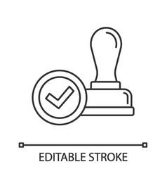stamp approved linear icon vector image