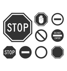 stop road sign set vector image