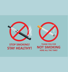 Stop smoking cigarettes concept no smoking vector