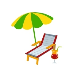 Sunbead with umbrella and cocktail vector