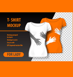T-shirt mockup with hands in two colors mockup vector