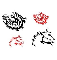Tribal mascots with red and black horses vector image