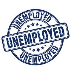Unemployed blue grunge round vintage rubber stamp vector