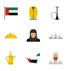 united arab emirates icons set flat style vector image