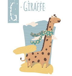 Vertical of giraffe with colorful background vector