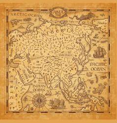Vintage map asia ancient parchment vector
