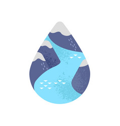 water care concept mountain river waterdrop vector image