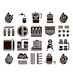 Water treatment items glyph icons set vector
