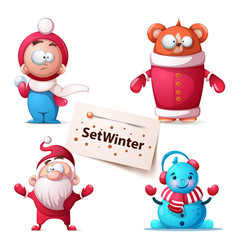 winter bear cute characters vector image