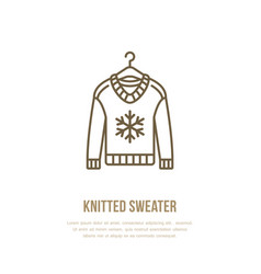 Woolen sweater knitted clothing vector